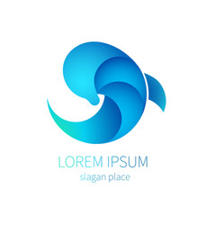 blue dolphin sea icon logo of tourism resort vector image vector image