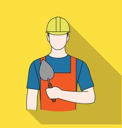 Builder masonprofessions single icon in flat vector