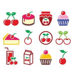 Cherry fruit cake jam icons set vector image vector image