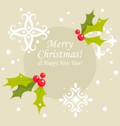 Christmas holly berry card vector