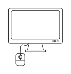 computer monitor and mouse icon vector image vector image