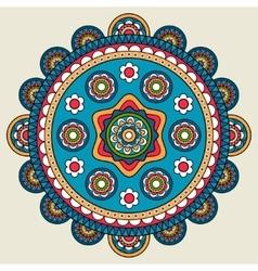 Doodle boho floral round motif vector image vector image