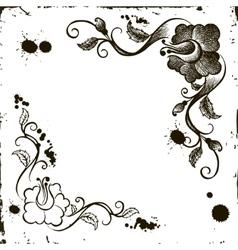 doodle flower frame grunge vector image vector image