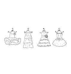 four different dresses on hangers vector image vector image