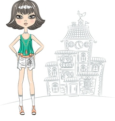 hipster beautiful fashion girl top model vector image vector image