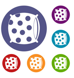 Pillow with dots icons set vector