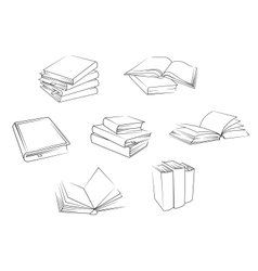 School and library books set vector image vector image