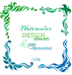 set of watercolour page decorations vector image