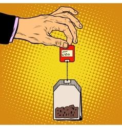 tea bag hand vector image vector image