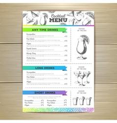 Vintage cocktail menu design Document template vector image vector image