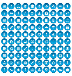 100 patisserie icons set blue vector