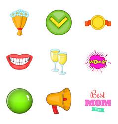 Achieve icons set cartoon style vector