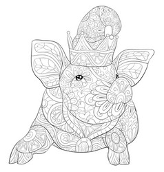 adult coloring bookpage a cute pig with a vector image