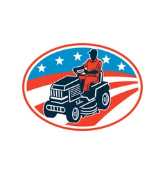 American Gardener Mowing Lawn Mower Retro vector