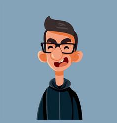 Angry upset young man cartoon vector