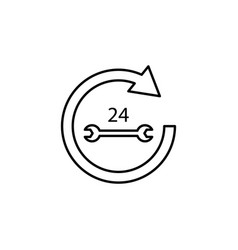 Arrow circle 24 7 wrench icon can be used for web vector