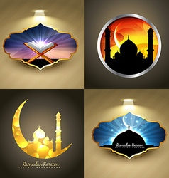 attractive set of ramadan kareem festival vector image vector image