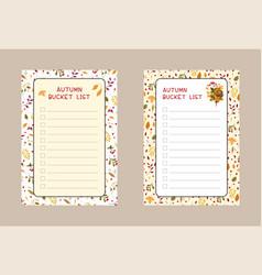Autumn bucket lists flat templates set weekly vector