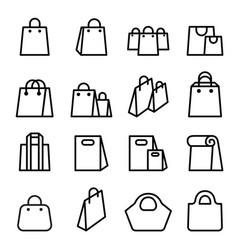 Bag icon set in thin line style vector