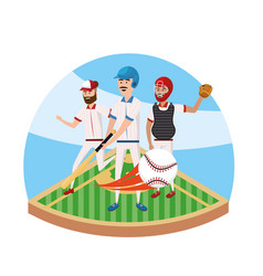 baseball player competition and teamwork in the vector image