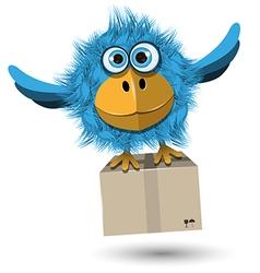 Blue Bird with a box vector image