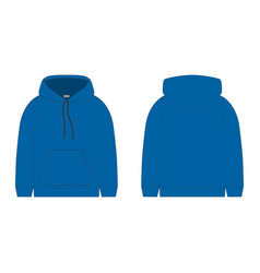 Blue hoodie on white background technical sketch vector