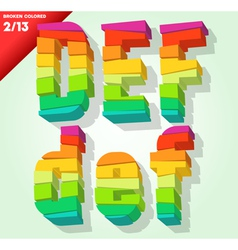 Broken colorful alphabet vector image