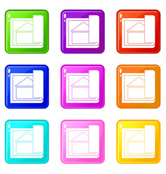 Building plan icons 9 set vector