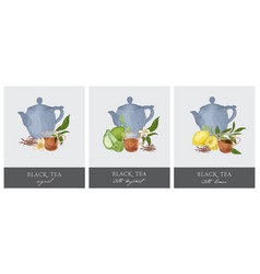 Bundle of elegant labels with teapot glass cup vector