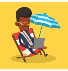 Businessman working on laptop at the beach vector image