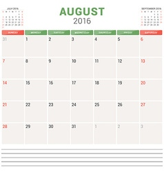 Calendar Planner 2016 Flat Design Template August vector