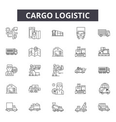 cargo logistic line icons signs set vector image