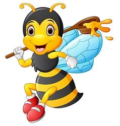 Cartoon bee holding scoop of honey vector