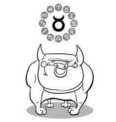cartoon dog as taurus zodiac sign vector image