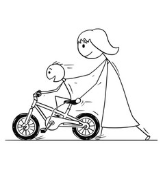 Cartoon of mother and son learning to ride a bike vector