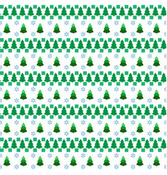 christmas tree and snowflake seamless pattern vector image