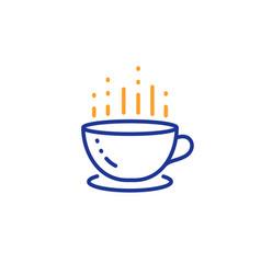 Coffee cup line icon hot tea drink sign hotel vector