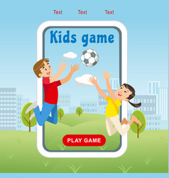 Concept image happy kids game soccer ball vector