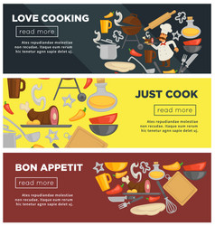 cooking school chef utensils web banners vector image