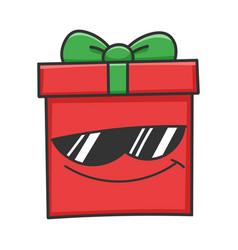 Cool sunglasses present christmas gift box cartoon vector