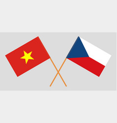 Crossed flags of czech republic and vietnam vector