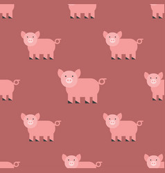 Cute pig cartoon animal seamless pattern farm vector