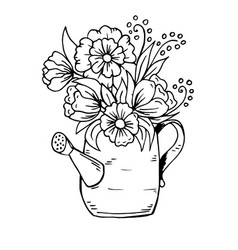 doodle cartoon watering can with flowers vector image