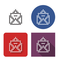 dotted icon open envelope and letter in four vector image