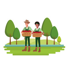 Farm animals and farmer cartoon vector