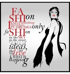 Fashion quote with modern girl vector image