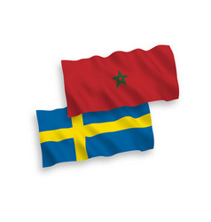 Flags sweden and morocco on a white background vector