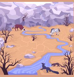 flat dryland landscape composition vector image
