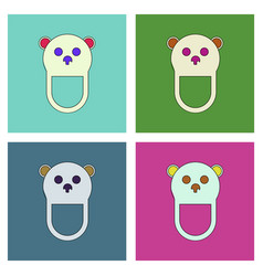flat icon design collection teddy bear bib vector image