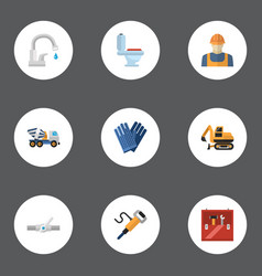 flat icons pneumatic tractor restroom and other vector image vector image